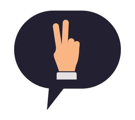 speech bubble with hand peace and love vector illustration design