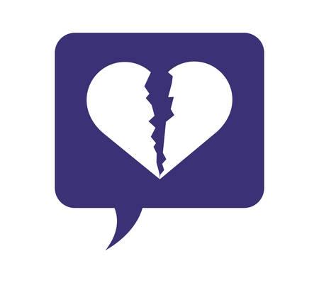 speech bubble with heart broken vector illustration design