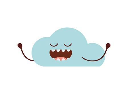 beautiful cloud kawaii isolated icon vector illustration design  イラスト・ベクター素材
