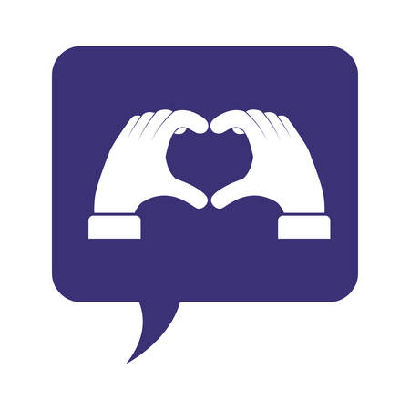 speech bubble with hands taking heart vector illustration design