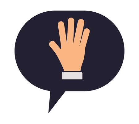 speech bubble with hand stop vector illustration design 向量圖像