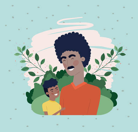 happy fathers day card with black dad and son characters vector illustration design