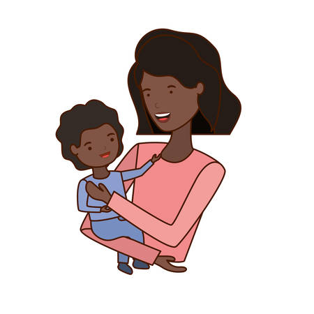 woman with baby avatar character vector illustration design Ilustração