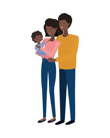 Pareja de padres con hijo avatar ilustración Vectorial character design