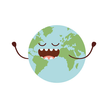 planet earth kawaii isolated icon vector illustration design