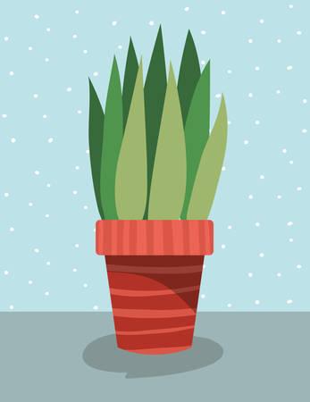 beautiful houseplant in pot vector illustration design
