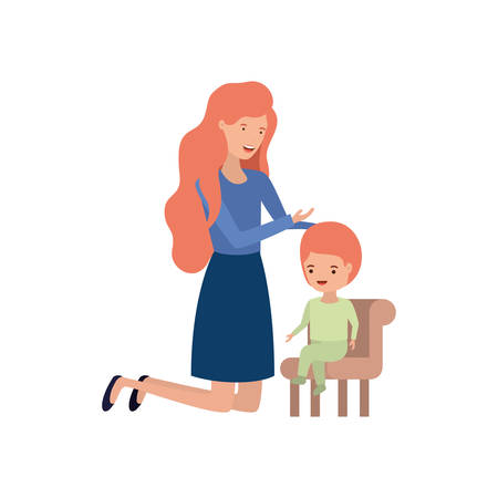 woman with baby sitting on chair avatar character vector illustration design Vettoriali