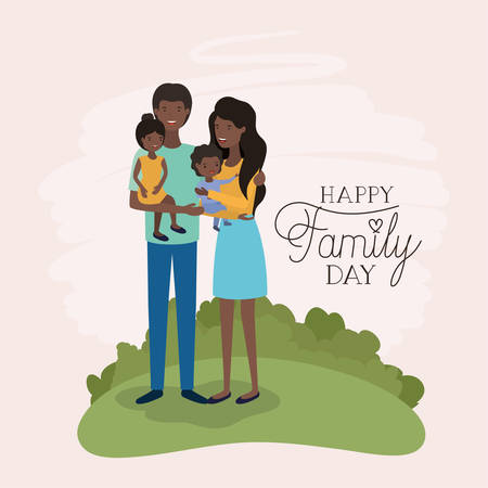 family day card with black parents and daughter leafs crown vector illustration design Vecteurs
