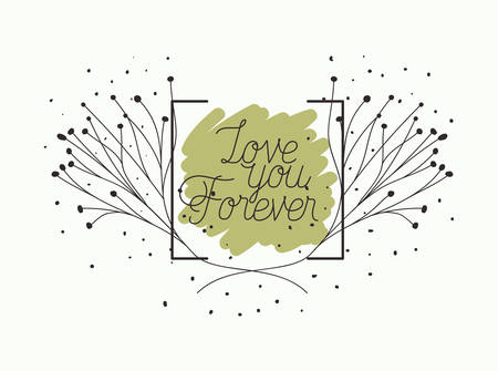 love card with herbs drawn frame vector illustration design Çizim