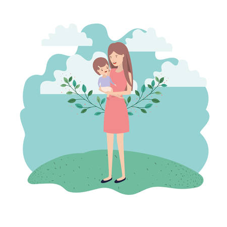 woman with baby in landscape avatar character vector illustration design Imagens - 122670593