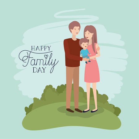 family day card with parents and son in the field vector illustration design Vecteurs