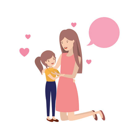 woman with daughter and speech bubble avatar character vector illustration design Vettoriali