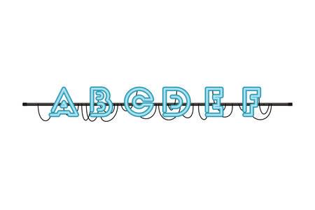 alphabet in neon light isolated icon vector illustration design Illustration