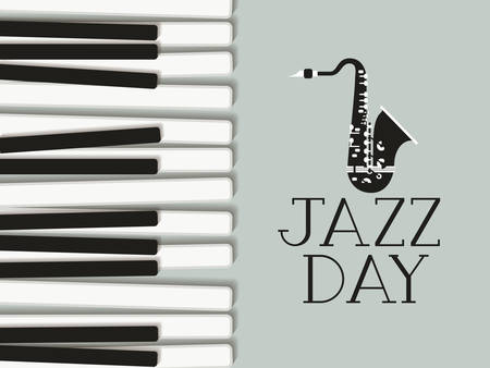 jazz day poster with piano keyboard and saxophone vector illustration design  イラスト・ベクター素材