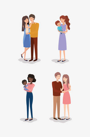 family day members characters vector illustration design