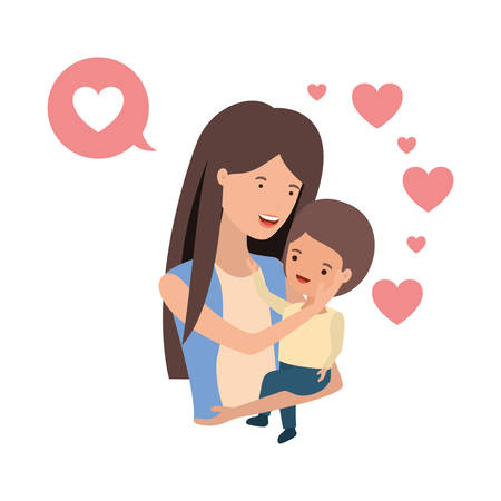 woman with baby and speech bubble avatar character vector illustration design