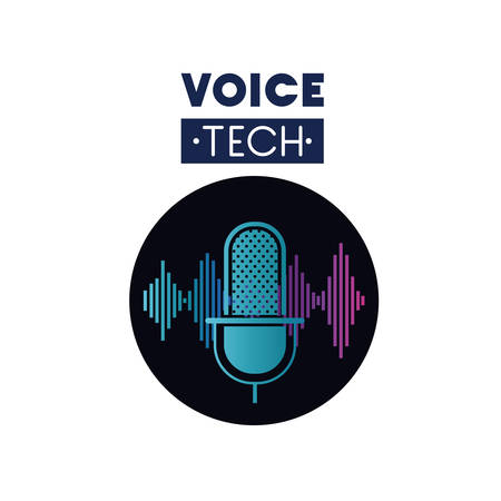 voice tech label with microphone and sound wave vector illustration design Illustration