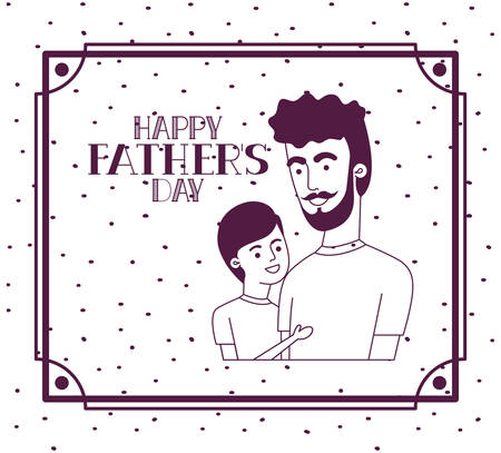 happy fathers day card with dad and son characters vector illustration design Stock Illustratie