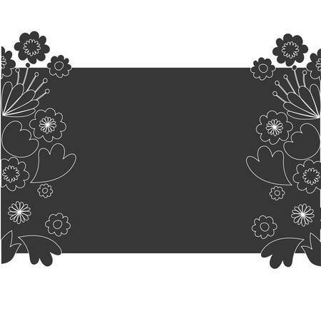 frame with flowers and leafs icon vector illustration design Illusztráció