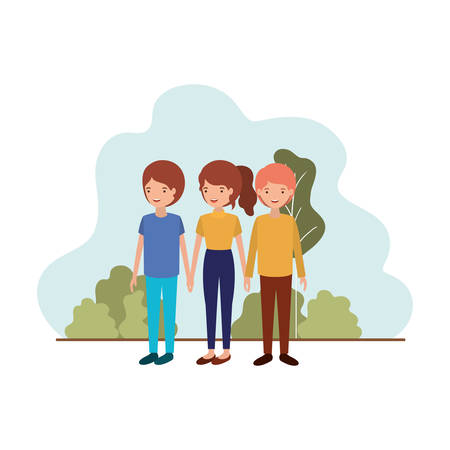 group of people with landscape avatar character vector illustration design