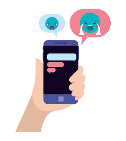 hand chatting with smartphone sending emojis vector illustration design