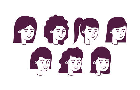 group of girls heads characters vector illustration design