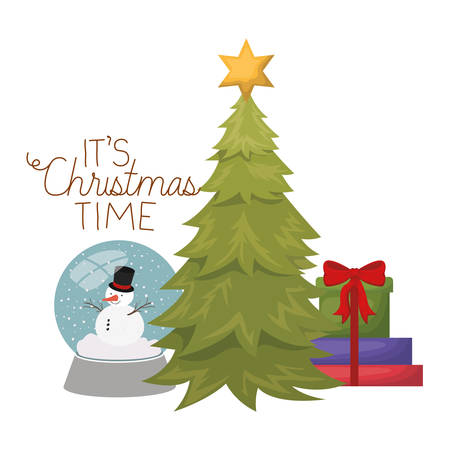 christmas tree with snow man in crystal ball isolated icon vector illustration design