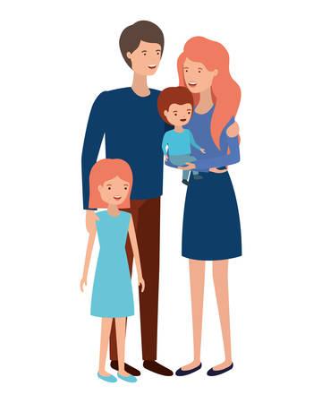 couple of parents with children avatar character vector illustration design Vector Illustratie