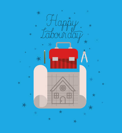 labour day celebration with tool box vector illustration design