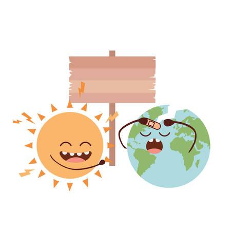 planet earth kawaii isolated icon vector illustration design