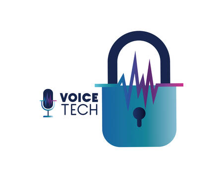 voice tech label with security padlock vector illustration design