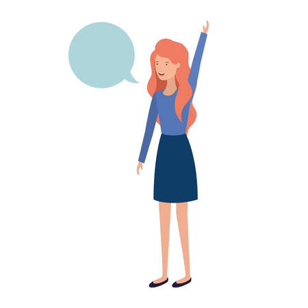 young woman with speech bubble avatar character vector illustration design Illustration