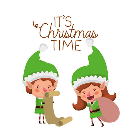 elves couple with list gifts and merry christmas time avatar character vector illustration design