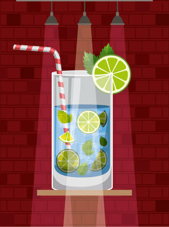 fresh and tropical cocktail vector illustration design