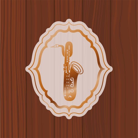 music saxophone in frame with wooden background vector illustration design