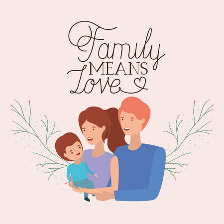 family day card with parents and son leafs crown vector illustration design Vecteurs