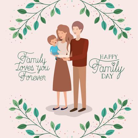 Carte de fête de la famille avec les parents et le fils leafs couronne conception d'illustration vectorielle