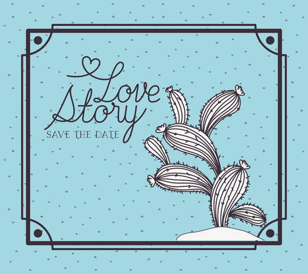 love story card with marine sponge algae scene vector illustration design