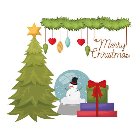 christmas tree with snow man in crystal ball isolated icon vector illustration design Zdjęcie Seryjne - 122607714