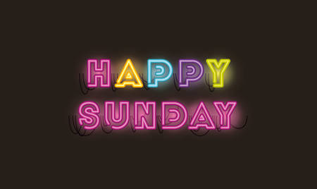 happy sunday fonts neon lights vector illustration design