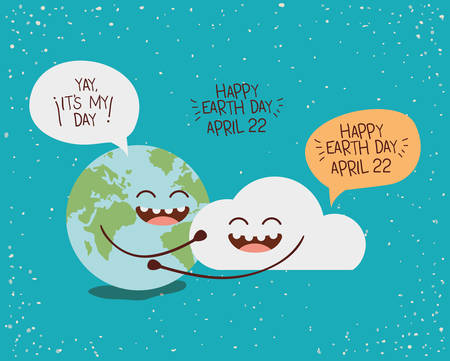 earth and sun characters with speech bubbles vector illustration design Ilustracja