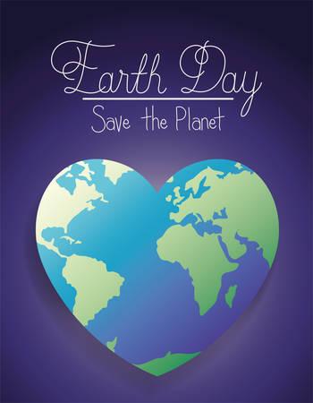 world planet earth heart day celebration vector illustration design