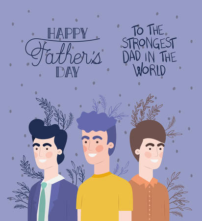 happy fathers day card with dads and leafs plant vector illustration design 向量圖像