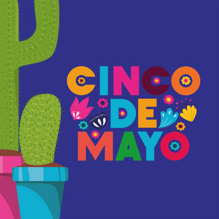 cinco de mayo card with vector illustration design Vectores
