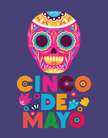 cinco de mayo card with flowers and skull mask vector illustration design