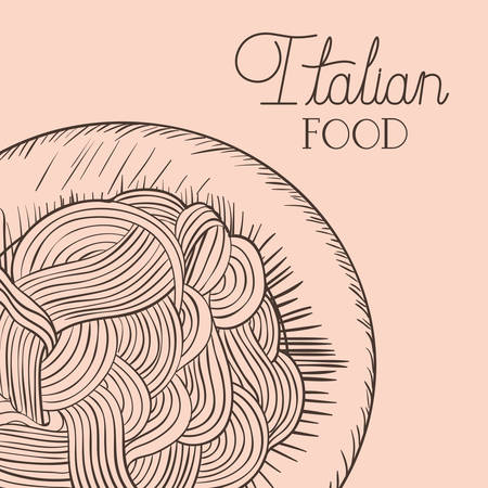 italian food drawn dish with spaghettis vector illustration design