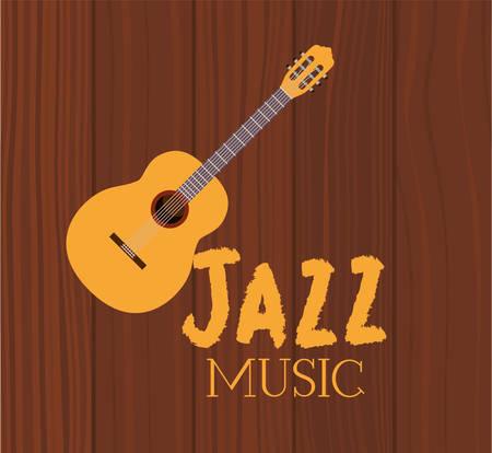 music acoustic guitar in frame with wooden background vector illustration design Ilustração