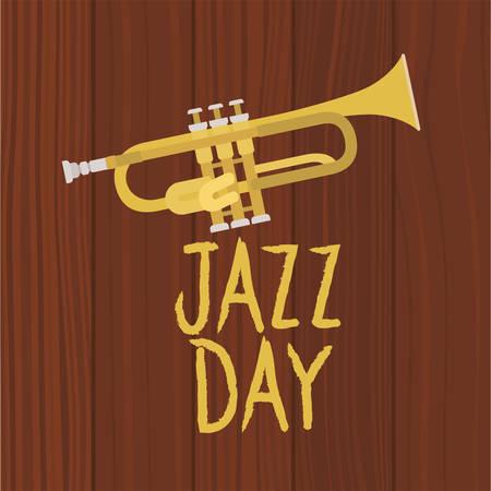 jazz day poster with trumpet vector illustration design Ilustração