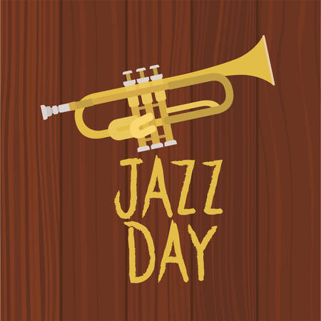 jazz day poster with trumpet vector illustration design Illustration