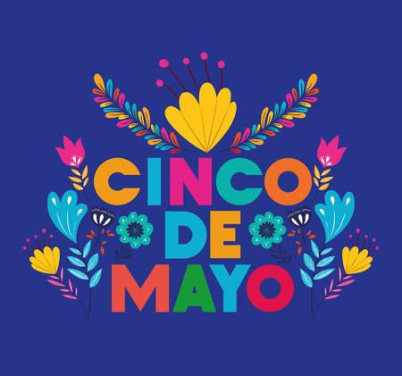 cinco de mayo card con decorazione floreale illustrazione vettoriale design decoration